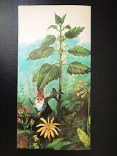 lot of five Unused Vintage 1976 large Rien Poortvliet Gnomes In Garden notecards