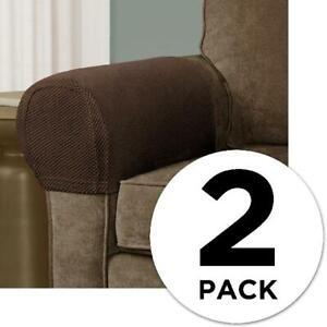 Sofa Arm Rest Cover Cotton Blend Lightweight Stretch Fabric Machine Washable 2Pk