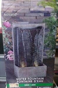Ashland Water Fountain Garden Grey Resin LED Textured Indoor
