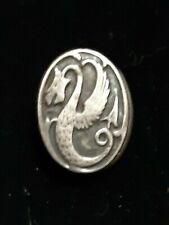 Tie, Lingerie or Collar Clip 1900's Small Oval Sterling Raised Medieval Dragon