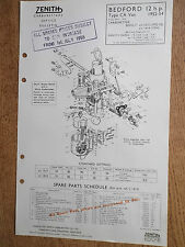 ZENITH CARBURETTER BEDFORD VAN 12 h.p. 1952 - 54 PETROL LEAFLET TECHNICAL PARTS