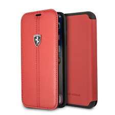 Ferrari iPhone X & iPhone XS Case Red Bookstyle Cell Phone Case Genuine Leather