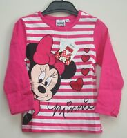 Girl's Disney MINNIE MOUSE Long-Sleeved Bright Pink T-Shirt/Top - NWT - 2-6yrs