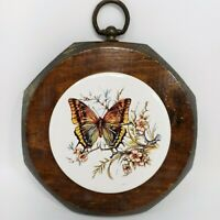 Jerry Schultz Handcrafted Pine Plaque with Butterfly Ceramic Tile Wall Hanging