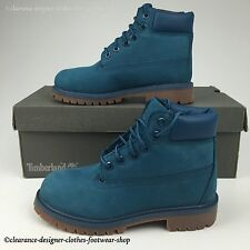 TIMBERLAND 6 INCH PREMIUM BOOTS KIDS UNISEX MONOCROMATIC BLUE SHOES UK 13 RRP£80