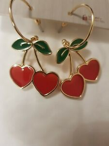Freedom At Topshop Red Love Heart Cherry Drop Earrings