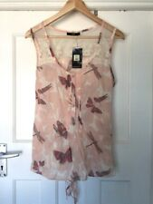 BNWT OASIS PALE PINK COTTON BUTTERFLY PRINT LACE SUMMER HOLIDAYS TOP SIZE 14 ♡♡♡