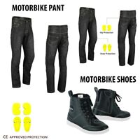 NEW Motorcycle Jeans Pant Reinforced Denim Motorbike Leather Boots Waterproof