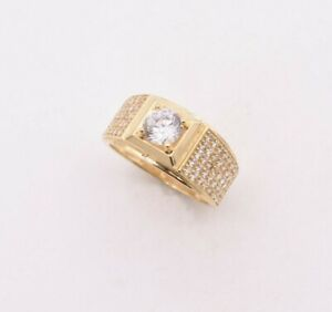 Solitaire w/ Side Stones Railroad CZ Ring Real Solid 14K Yellow Gold ALL SIZES