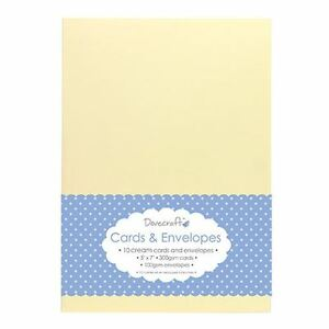 "10x Cream 5""x7"" Quality Grade Kraft Card Blanks + Envelopes (Dovecraft)"