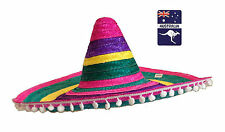 Rainbow Straw Mexican Sombrero Hat White Poms Spanish Fancy Dress Party Costume