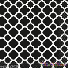 BLACK QUATREFOIL LUNCH NAPKINS (16) ~ Birthday Party Supplies Dinner Large Adult