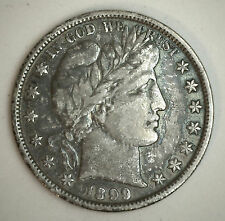 1899 Barber Half Dollar Silver Type Coin Fifty Cent 50 Cents VF
