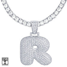 """Bubble Letter R Initial Silver Plated Iced Pendant CZ 24"""" Tennis Chain Necklace"""