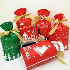 25/50Pc Reusable Christmas Drawstring Gift Bags Xmas Sacks Storage Wrap Present
