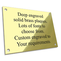 "4/"" x 2/"" or 6/"" x 2/"" Solid Polished Brass Engraved Plaque Pet Memorial"