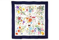 GUCCI Large Format Scarf 100% Silk Floral Botanical Stole Shawl Navy 2830k
