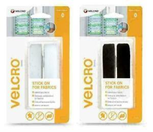 VELCRO Brand Stick On For Fabrics Tape, 19 mm x 60 cm - White or Black Tape