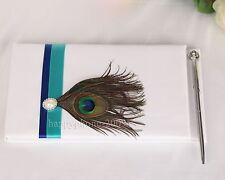 Peacock  Feather White Wedding Guest  book Pen set wedding Favor N1