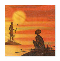 4 Motivservietten Servietten Tovaglioli Napkins Afrika African Sun (094)