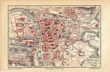 Antique map landkarte Würzburg Germany 1910 plattegrond