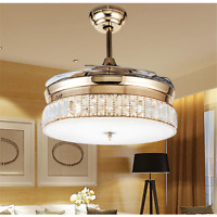 """Rose Gold Invisible Ceiling Fans Light Crystal LED Chandeliers Pendant Lamp 36"""""""