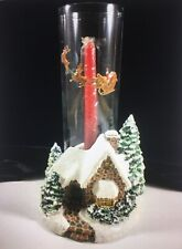 Thomas Kinkade Memories of Christmas Cottage Candle Holder Hurricane Candle 2005
