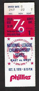 1976 NLCS Game 1 Ticket Stub Cinncinati Reds at Philadelphia Phillies