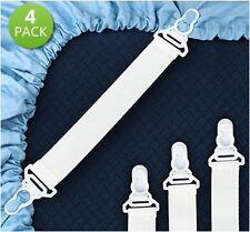 BED SHEET MATTRESS GRIPPER STRAPS CORNER HOLDER SUSPENDERS CLIP FASTENERS - 4PK