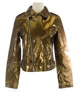 CUSTO BARCELONA Women's Perfecto Gold Diagnal Zip Jacket R793004 $800 NWT