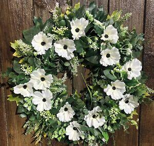 ARTIFICIAL AUTUMN / WINTER WHITE POPPY FLOWER DOOR WREATH