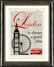 Old Antique Dictionary page Print - London Is Always a Good Idea Quote Wall Art
