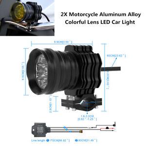 12V 50W Motorcycle Car Universal Aluminum Alloy Colorful Lens LED Bright Light