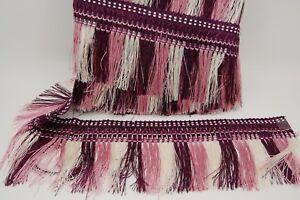 COLOURFUL TASSEL TRIM FRINGE 5INCH WIDE 11 METRE PACK,  Cream, pink and Purple