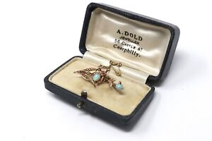 A Wonderful Antique Victorian 15ct Yellow Gold Opal & Ruby Bug Brooch & Box28771