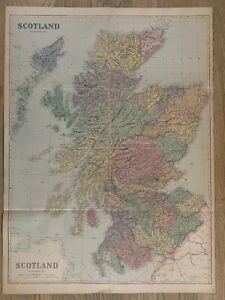 1884 Scotland Huge Hand Coloured Map by Edward Weller, 90 cm x 66 cm