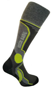 Ski Snowboard Winter Socks Lime Grey Racing Thermolite Antibacterial 3 sizes
