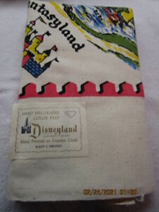 VERY RARE VTG NEW DISNEYLAND 1950s BARTH DREYFUSS TABLECLOTH WITH MAKERS LABEL