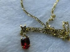 14K Yellow Gold Petite Garnet and Diamond Necklace with 20 inch chain