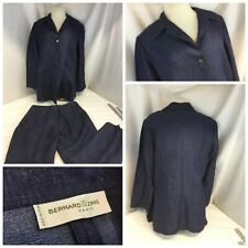 Bernard Zins Pant Suit Sz 12 Blue 100% Linen Button Down Made France YGI J9-506