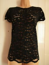 Dorothy Perkins Navy Blue Short Sleeved Lace Top - Size 14