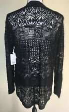 Candies Junior Women Mesh Knit Long Open Front Cardigan Sweater Black  Sz XL