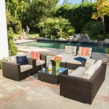 Best Selling Home Murillo 9 Piece Patio Wicker Sectional, Beige