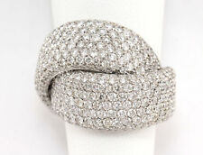 18K Diamond Ring White Gold Twisted Knot Pave