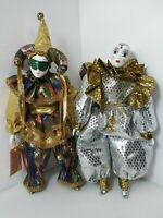 "Lot of 2 Vintage 10"" and 12"" Harlequin Jester Clown Porcelain Figurines"