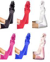 Elegant Shiny Satin Over Elbow Opera Prom Gloves Hen Wedding Party Prom 38CM