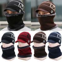 Men Warm Winter Hat Knit Visor Beanie Fleece Lined Billed Beanie with Brim Cap