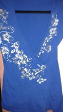 Guess Jeans Women's Small Petitie Royal Blue/Silver Shortsleeve Tunic Top