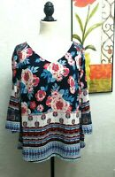 FIG AND FLOWER 1X Anthropologie Floral Boho Tunic Peasant Top Textured Excellent