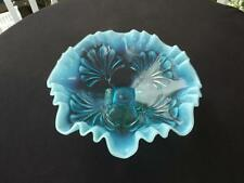 Jefferson Northwood Glass Blue Opalescent Bowl Compote Dish